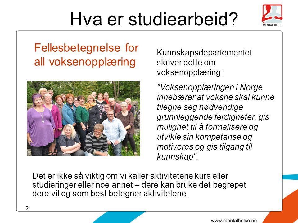 13 Studieledere i lokal- og fylkeslag.
