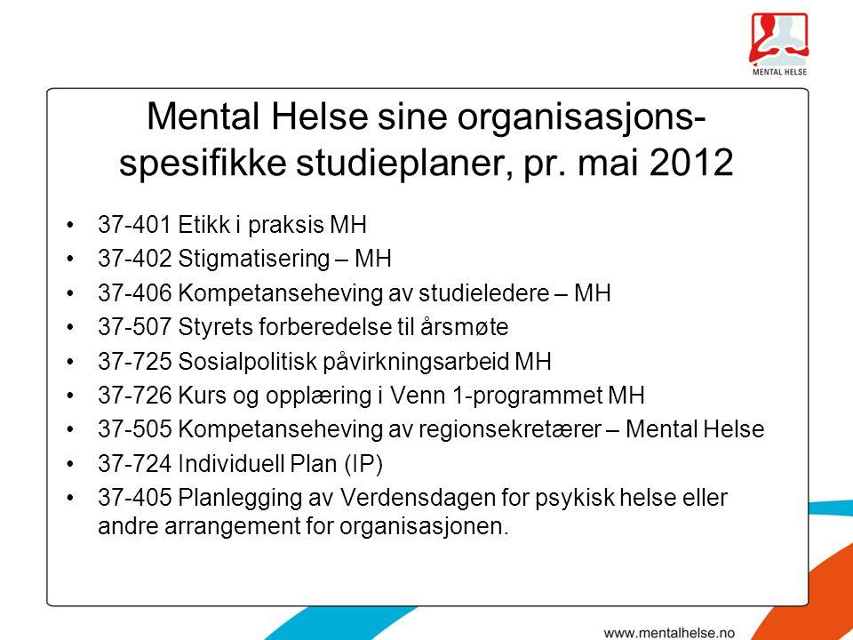 Mental Helse sine organisasjons- spesifikke studieplaner, pr. mai 2012 •37-401 Etikk i praksis MH •37-402 Stigmatisering – MH •37-406 Kompetanseheving