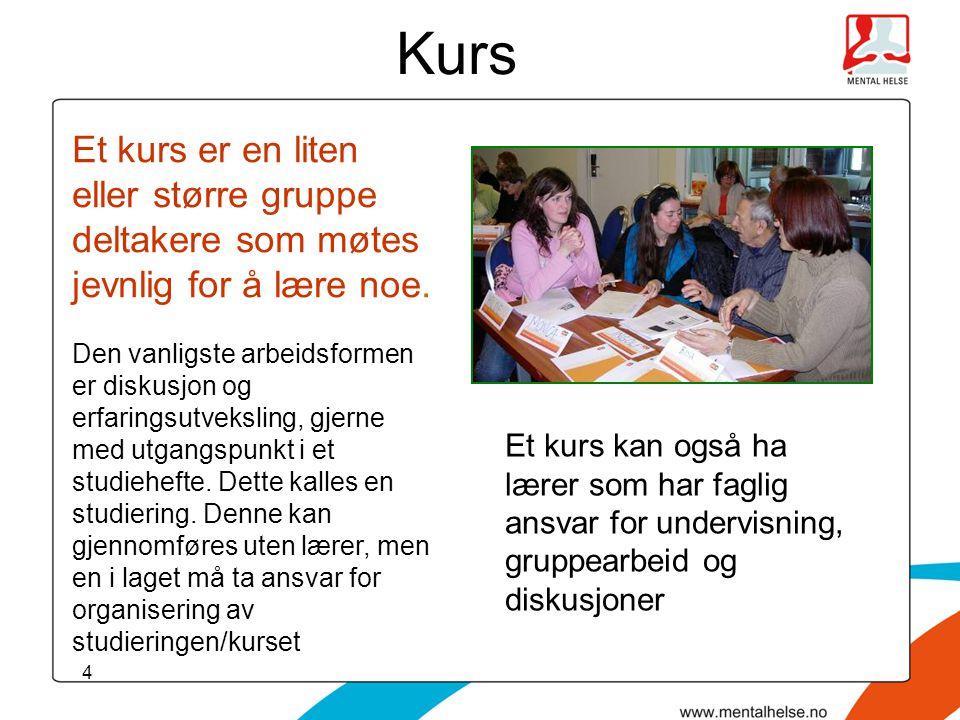 4 Kurs Et kurs er en liten eller større gruppe deltakere som møtes jevnlig for å lære noe. Den vanligste arbeidsformen er diskusjon og erfaringsutveks