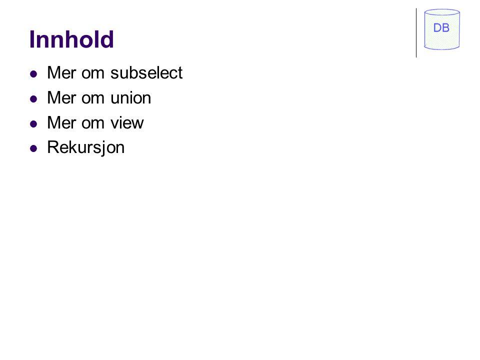 Høgskolen i Molde Avansert SQL og problemløsning IDA210 Ola Bø Bygd på notat av Per Sætre