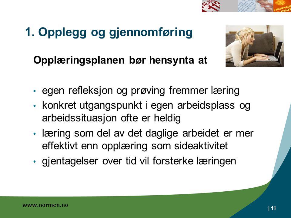 www.normen.no | 11 1. Opplegg og gjennomføring Opplæringsplanen bør hensynta at • egen refleksjon og prøving fremmer læring • konkret utgangspunkt i e