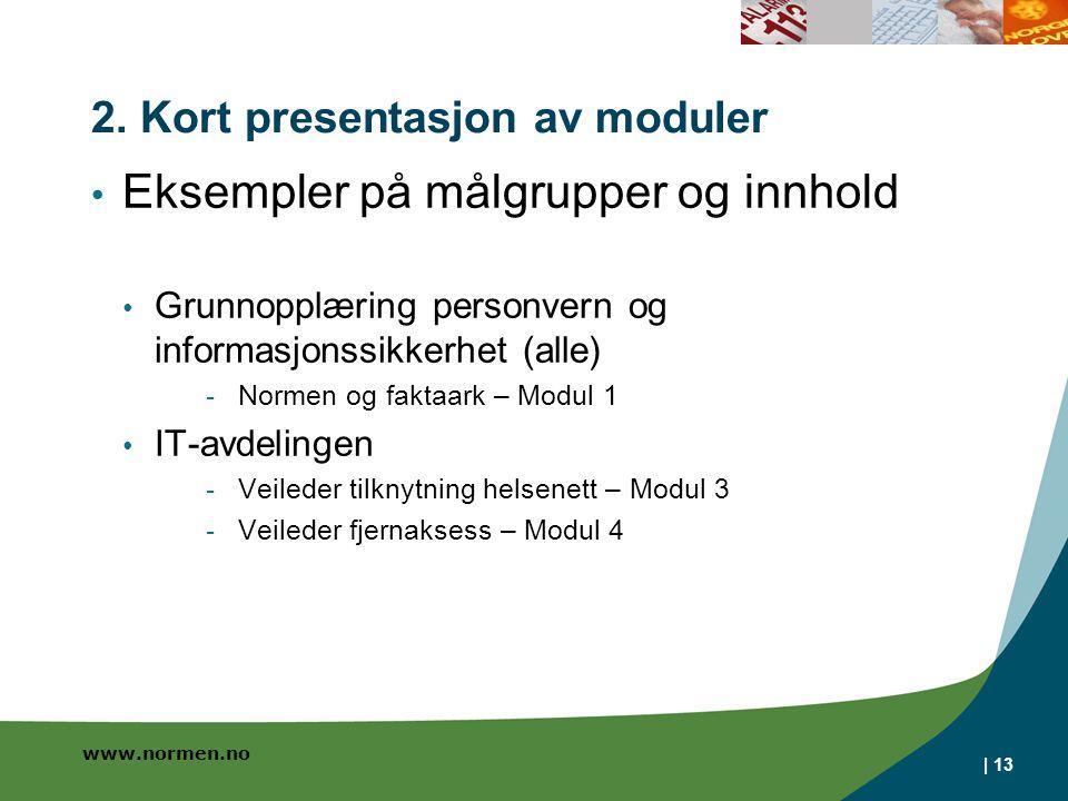 www.normen.no 2. Kort presentasjon av moduler • Eksempler på målgrupper og innhold • Grunnopplæring personvern og informasjonssikkerhet (alle) - Norme