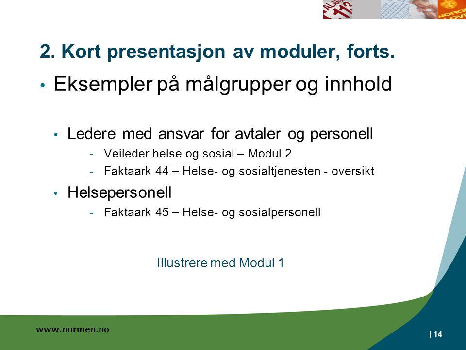 www.normen.no 2. Kort presentasjon av moduler, forts. • Eksempler på målgrupper og innhold • Ledere med ansvar for avtaler og personell - Veileder hel