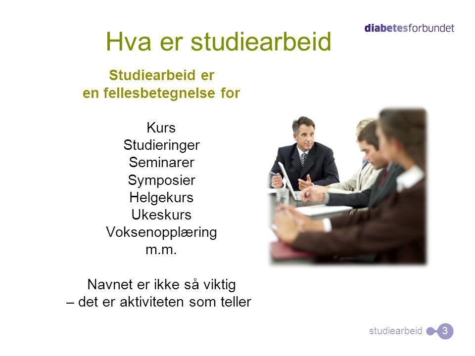 studiearbeid Hva er studiearbeid Studiearbeid er en fellesbetegnelse for Kurs Studieringer Seminarer Symposier Helgekurs Ukeskurs Voksenopplæring m.m.