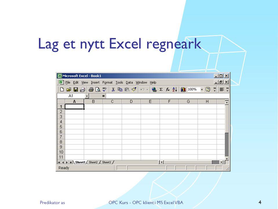 Predikator asOPC Kurs - OPC klient i MS Excel VBA 3 Registrere OPC DLL'er  Bruk Regsvr32.exe til å registrere DLL'ene, fra et DOS vindu  regsvr32 opcdaauto.dll