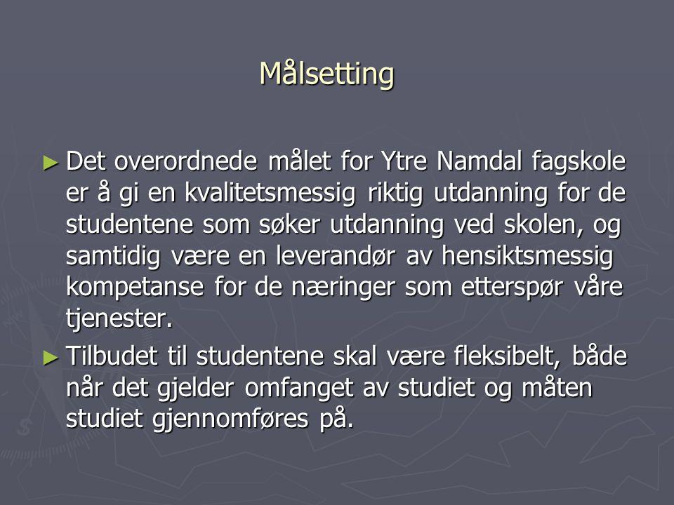 Målsetting ► Det overordnede målet for Ytre Namdal fagskole er å gi en kvalitetsmessig riktig utdanning for de studentene som søker utdanning ved skol