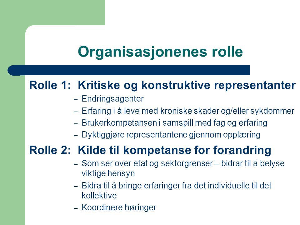 Organisasjonenes rolle Rolle 1: Kritiske og konstruktive representanter – Endringsagenter – Erfaring i å leve med kroniske skader og/eller sykdommer –