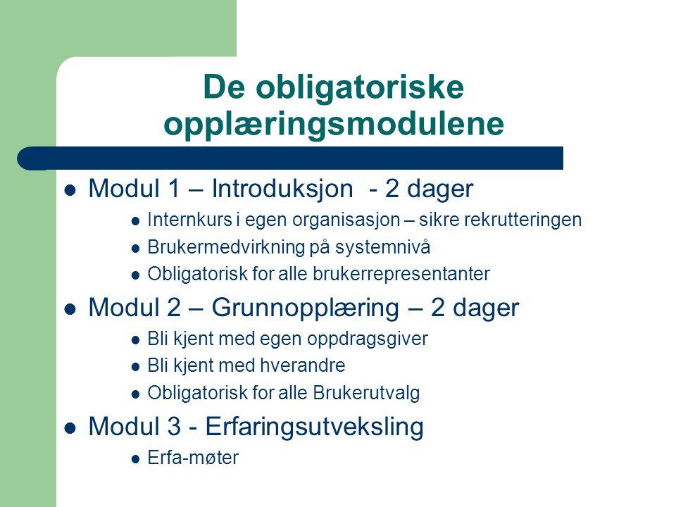 De obligatoriske opplæringsmodulene  Modul 1 – Introduksjon - 2 dager  Internkurs i egen organisasjon – sikre rekrutteringen  Brukermedvirkning på