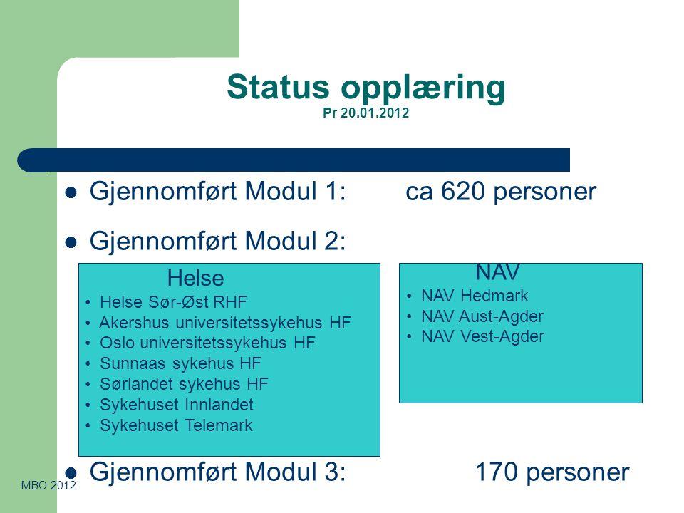 Status opplæring Pr 20.01.2012  Gjennomført Modul 1: ca 620 personer  Gjennomført Modul 2:  Gjennomført Modul 3:170 personer MBO 2012 NAV • NAV Hed
