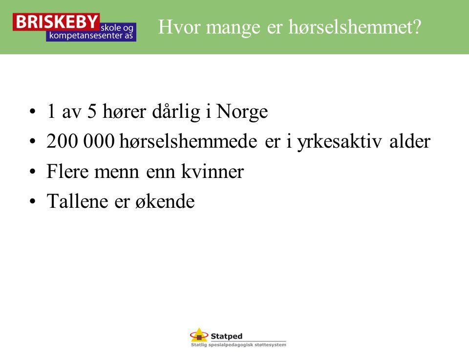 Hvor mange er hørselshemmet? •1 av 5 hører dårlig i Norge •200 000 hørselshemmede er i yrkesaktiv alder •Flere menn enn kvinner •Tallene er økende