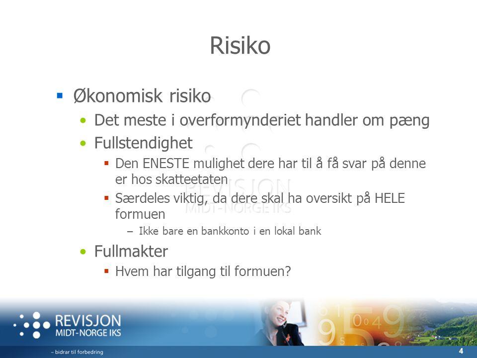 4 Risiko  Økonomisk risiko •Det meste i overformynderiet handler om pæng •Fullstendighet  Den ENESTE mulighet dere har til å få svar på denne er hos