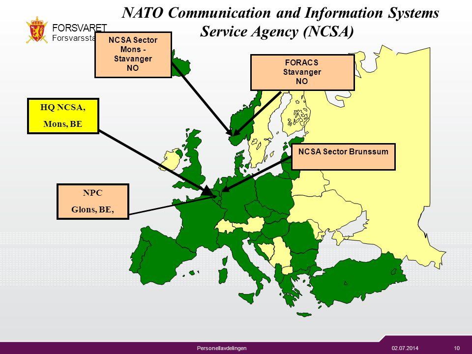 02.07.201410 FORSVARET Forsvarsstaben Personellavdelingen NATO Communication and Information Systems Service Agency (NCSA) NCSA Sector Mons - Stavange