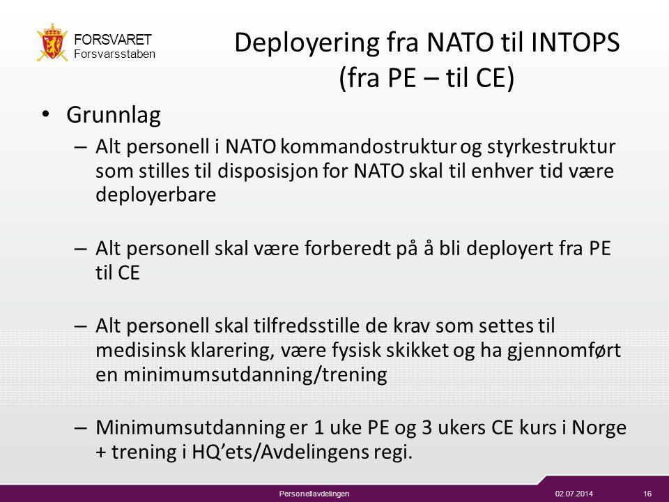 02.07.201416 FORSVARET Forsvarsstaben Personellavdelingen Deployering fra NATO til INTOPS (fra PE – til CE) • Grunnlag – Alt personell i NATO kommando