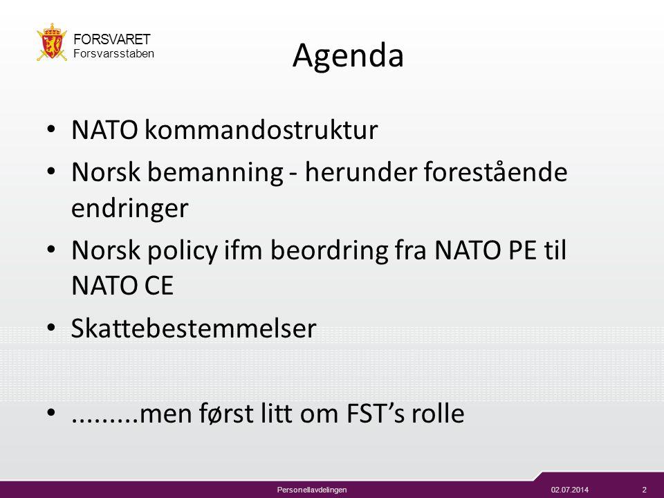 02.07.20142 FORSVARET Forsvarsstaben Personellavdelingen Agenda • NATO kommandostruktur • Norsk bemanning - herunder forestående endringer • Norsk pol