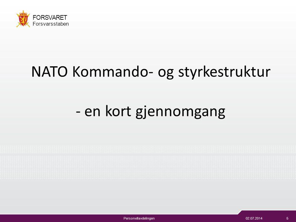 02.07.20145 FORSVARET Forsvarsstaben Personellavdelingen NATO Kommando- og styrkestruktur - en kort gjennomgang