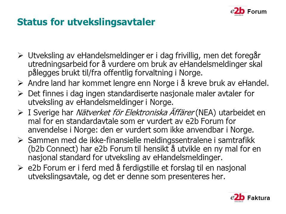 Forum Faktura Status for utvekslingsavtaler  Utveksling av eHandelsmeldinger er i dag frivillig, men det foregår utredningsarbeid for å vurdere om bruk av eHandelsmeldinger skal pålegges brukt til/fra offentlig forvaltning i Norge.