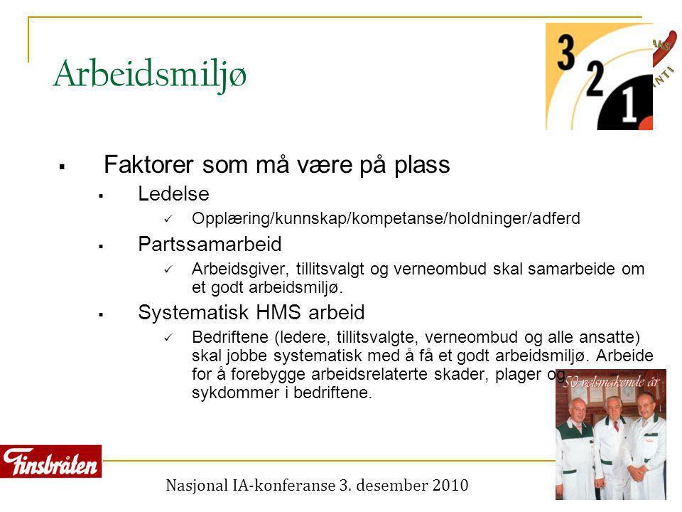 Nasjonal IA-konferanse 3. desember 2010 Arbeidsmiljø  Faktorer som må være på plass  Ledelse  Opplæring/kunnskap/kompetanse/holdninger/adferd  Par