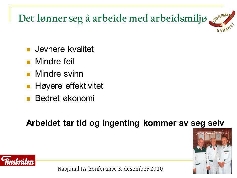 Nasjonal IA-konferanse 3. desember 2010 Det lønner seg å arbeide med arbeidsmiljø  Jevnere kvalitet  Mindre feil  Mindre svinn  Høyere effektivite