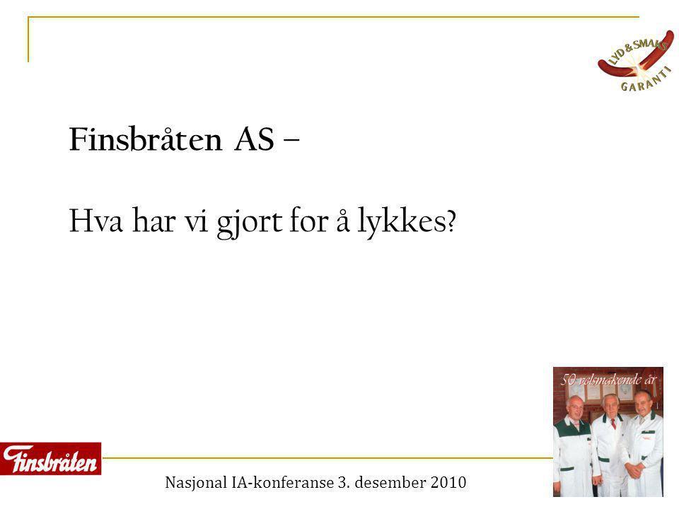 Nasjonal IA-konferanse 3. desember 2010 Finsbråten AS – Hva har vi gjort for å lykkes?