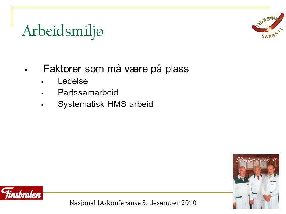 Nasjonal IA-konferanse 3. desember 2010 Arbeidsmiljø  Faktorer som må være på plass  Ledelse  Partssamarbeid  Systematisk HMS arbeid