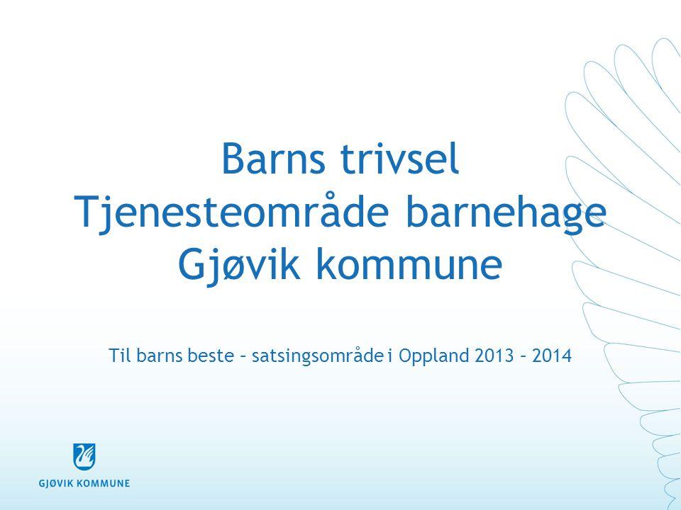 Barns trivsel Tjenesteområde barnehage Gjøvik kommune Til barns beste – satsingsområde i Oppland 2013 – 2014