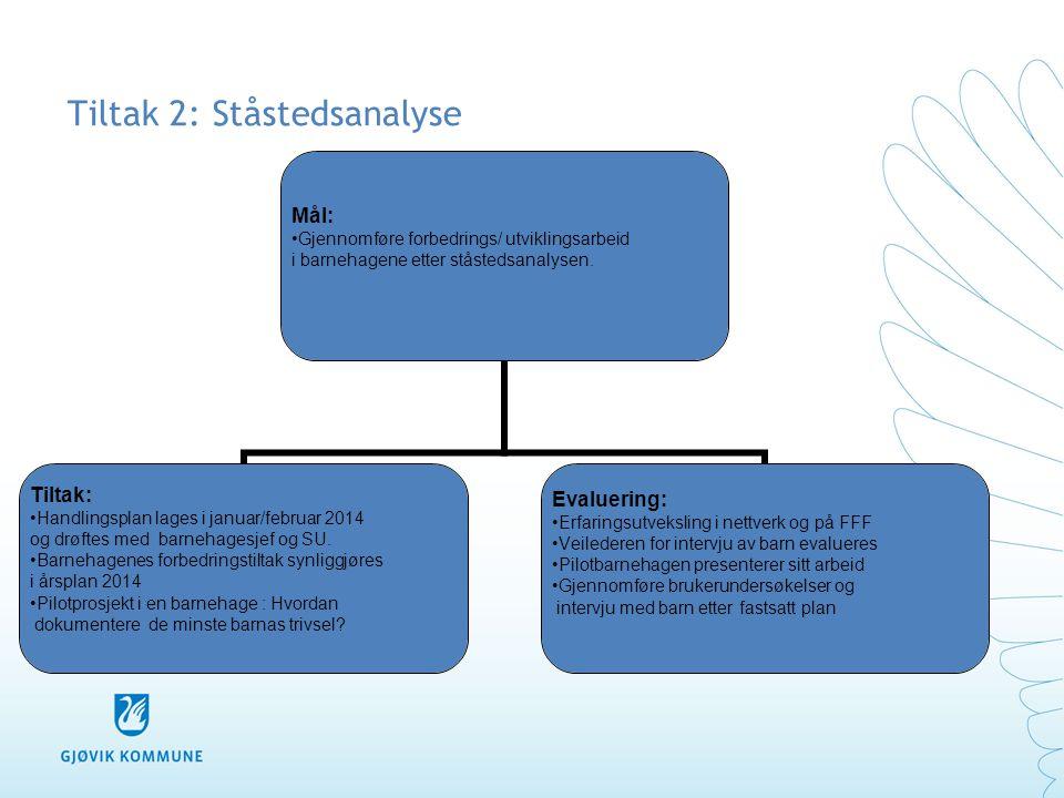 Tiltak 2: Ståstedsanalyse Mål: •Gjennomføre forbedrings/ utviklingsarbeid i barnehagene etter ståstedsanalysen. Tiltak: •Handlingsplan lages i januar/