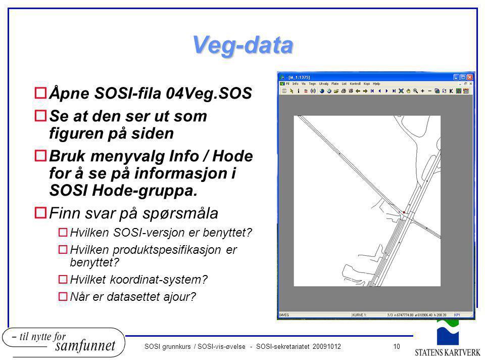 10SOSI grunnkurs / SOSI-vis-øvelse - SOSI-sekretariatet 20091012 Veg-data oÅpne SOSI-fila 04Veg.SOS oSe at den ser ut som figuren på siden oBruk menyv