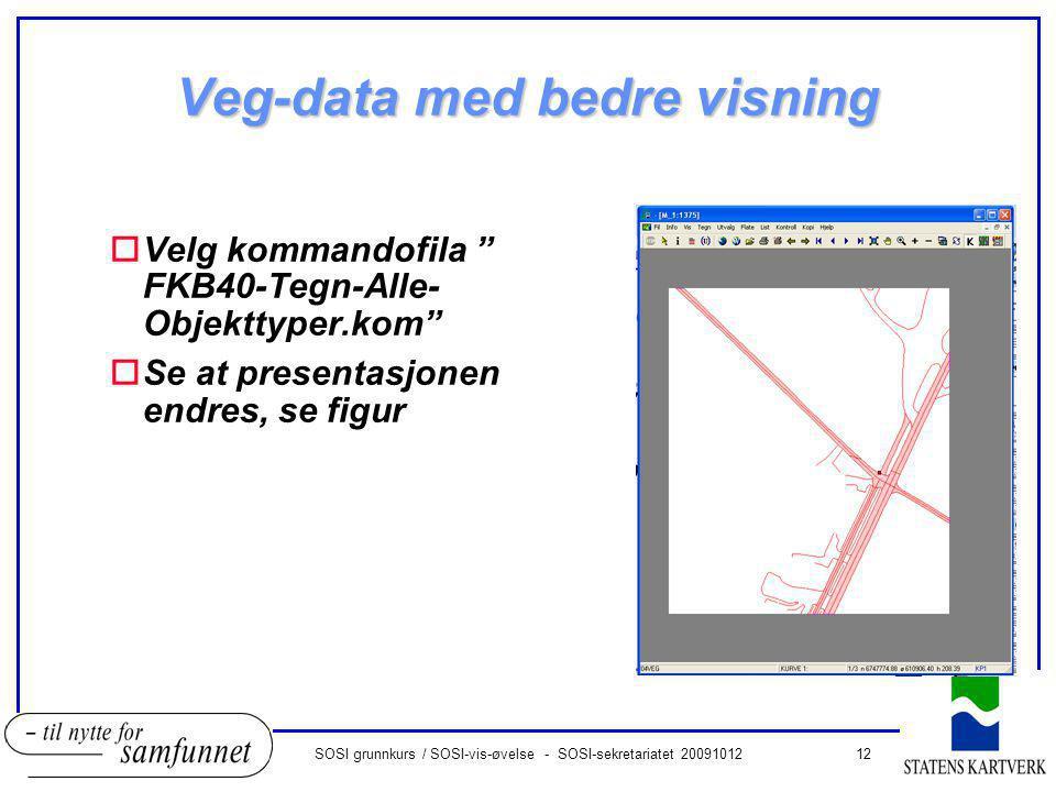 12SOSI grunnkurs / SOSI-vis-øvelse - SOSI-sekretariatet 20091012 Veg-data med bedre visning oVelg kommandofila FKB40-Tegn-Alle- Objekttyper.kom oSe at presentasjonen endres, se figur