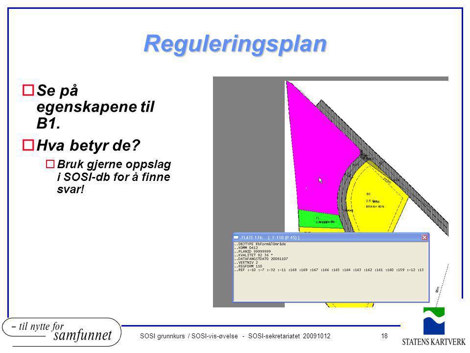 18SOSI grunnkurs / SOSI-vis-øvelse - SOSI-sekretariatet 20091012 Reguleringsplan oSe på egenskapene til B1. oHva betyr de? oBruk gjerne oppslag i SOSI
