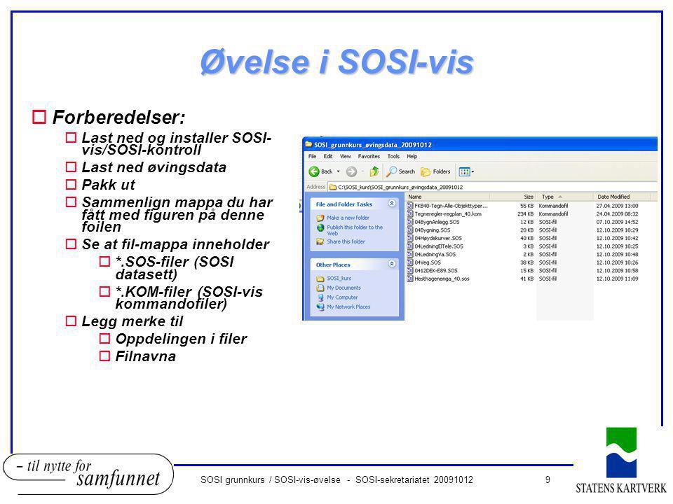 9SOSI grunnkurs / SOSI-vis-øvelse - SOSI-sekretariatet 20091012 Øvelse i SOSI-vis oForberedelser: oLast ned og installer SOSI- vis/SOSI-kontroll oLast ned øvingsdata oPakk ut oSammenlign mappa du har fått med figuren på denne foilen oSe at fil-mappa inneholder o*.SOS-filer (SOSI datasett) o*.KOM-filer (SOSI-vis kommandofiler) oLegg merke til oOppdelingen i filer oFilnavna