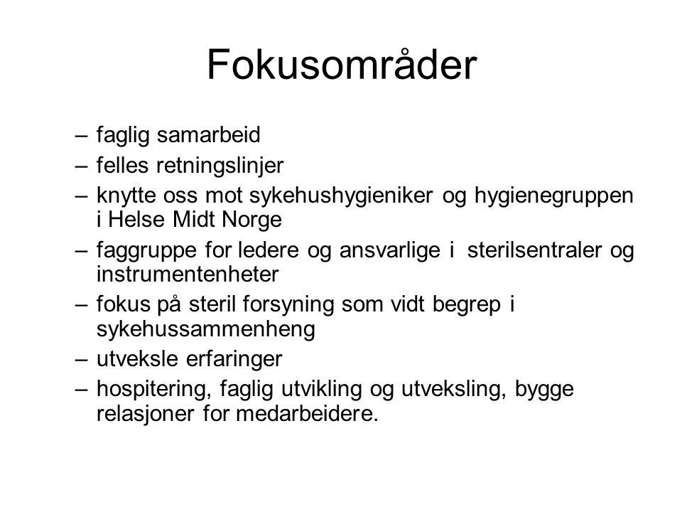 Fokusområder –faglig samarbeid –felles retningslinjer –knytte oss mot sykehushygieniker og hygienegruppen i Helse Midt Norge –faggruppe for ledere og