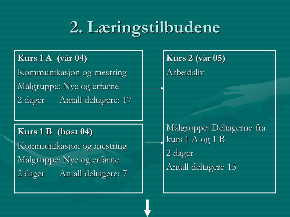 2. Læringstilbudene Kurs 1 A (vår 04) Kommunikasjon og mestring Målgruppe: Nye og erfarne 2 dager Antall deltagere: 17 Kurs 1 B (høst 04) Kommunikasjo