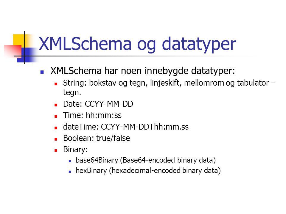 XMLSchema og datatyper  XMLSchema har noen innebygde datatyper:  String: bokstav og tegn, linjeskift, mellomrom og tabulator – tegn.