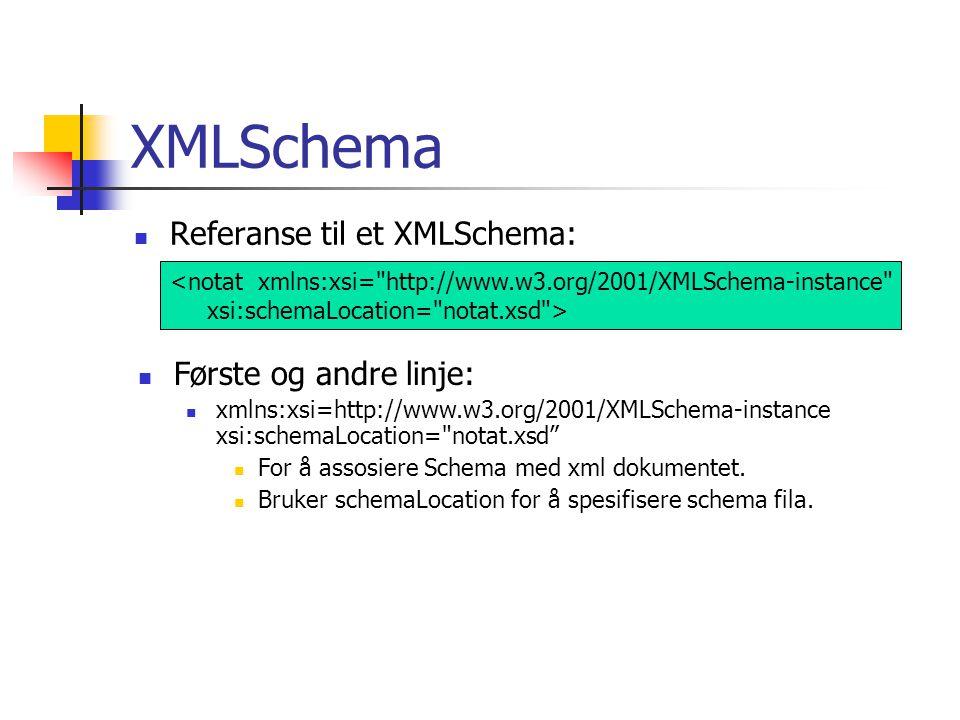 XMLSchema  Referanse til et XMLSchema: <notat xmlns:xsi= http://www.w3.org/2001/XMLSchema-instance xsi:schemaLocation= notat.xsd >  Første og andre linje:  xmlns:xsi=http://www.w3.org/2001/XMLSchema-instance xsi:schemaLocation= notat.xsd  For å assosiere Schema med xml dokumentet.