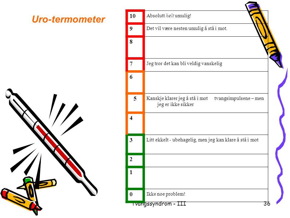 Tvangssyndrom - III36 Uro-termometer 10 Absolutt helt umulig! 9 Det vil være nesten umulig å stå i mot. 8 7 Jeg tror det kan bli veldig vanskelig 6 5