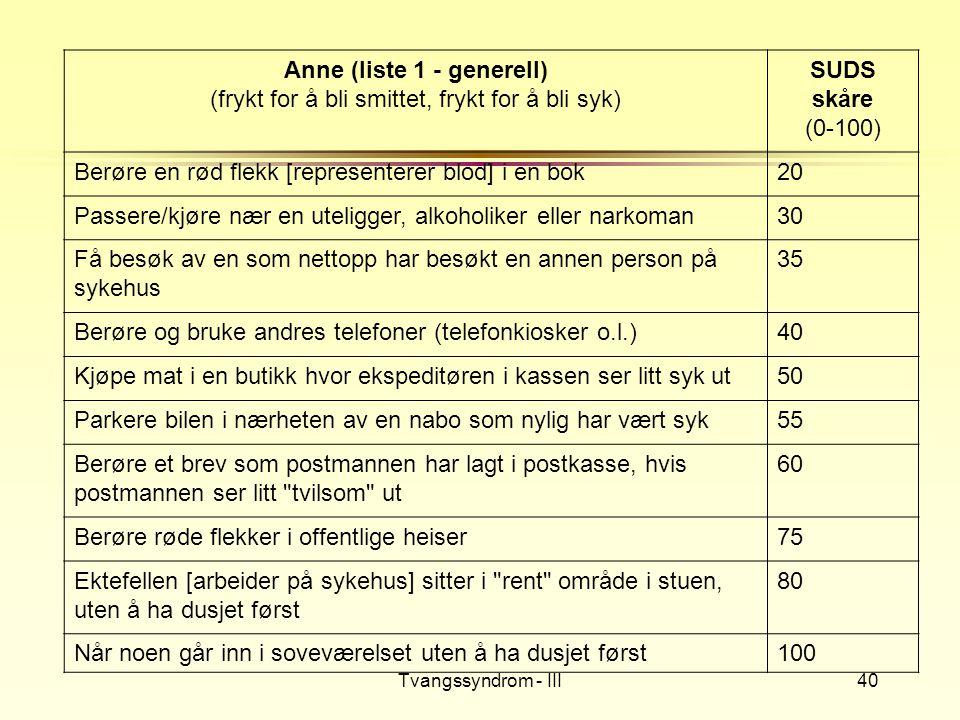 Tvangssyndrom - III40 Anne (liste 1 - generell) (frykt for å bli smittet, frykt for å bli syk) SUDS skåre (0-100) Berøre en rød flekk [representerer b