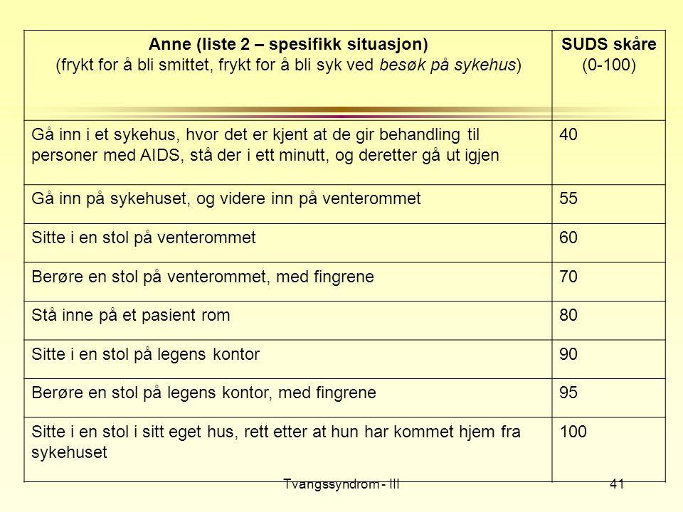 Tvangssyndrom - III41 Anne (liste 2 – spesifikk situasjon) (frykt for å bli smittet, frykt for å bli syk ved besøk på sykehus) SUDS skåre (0-100) Gå i