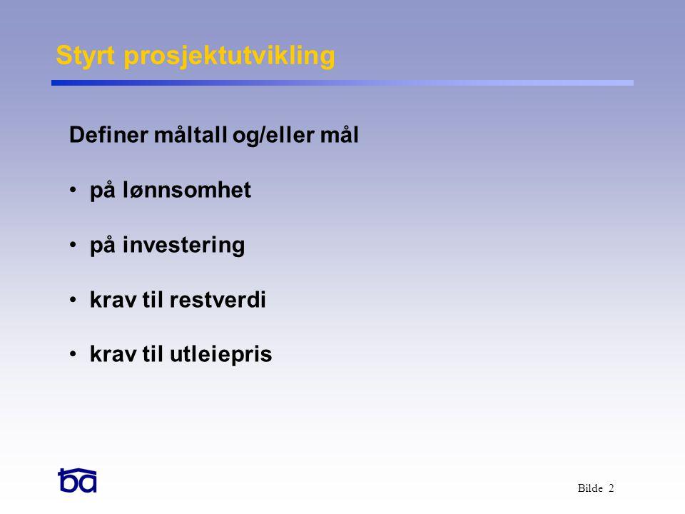 Bilde 2 Definer måltall og/eller mål • på lønnsomhet • på investering • krav til restverdi • krav til utleiepris Styrt prosjektutvikling
