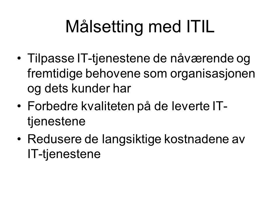 ITIL versjoner •Versjon 1 kom ut i 1989, og besto av 31 bøker som dekket alle aspekter av produksjon og drift av IT-tjenester.