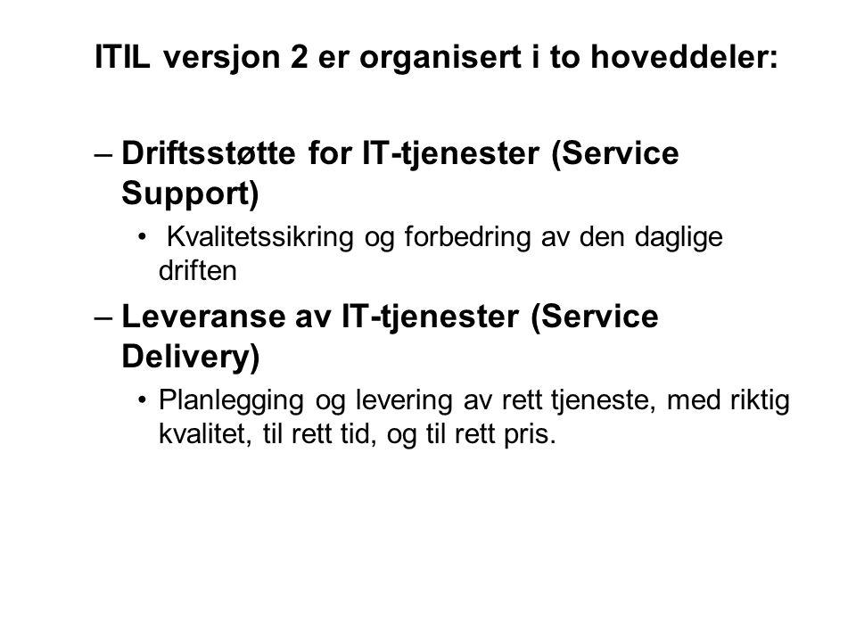 ITIL versjon 2 er organisert i to hoveddeler: –Driftsstøtte for IT-tjenester (Service Support) • Kvalitetssikring og forbedring av den daglige driften