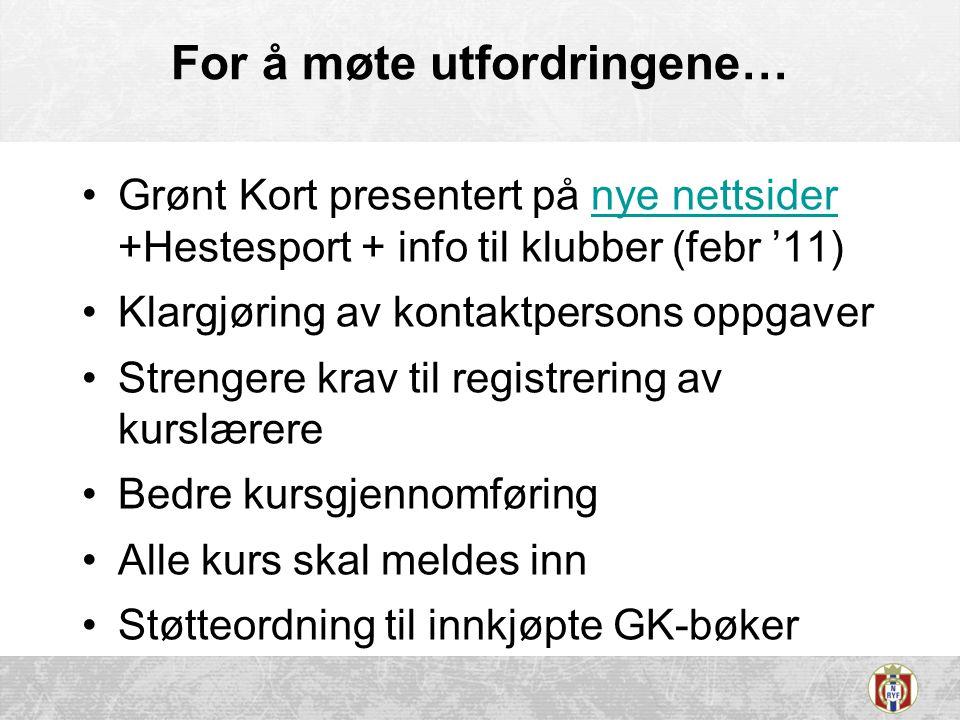For å møte utfordringene… •Grønt Kort presentert på nye nettsider +Hestesport + info til klubber (febr '11)nye nettsider •Klargjøring av kontaktperson
