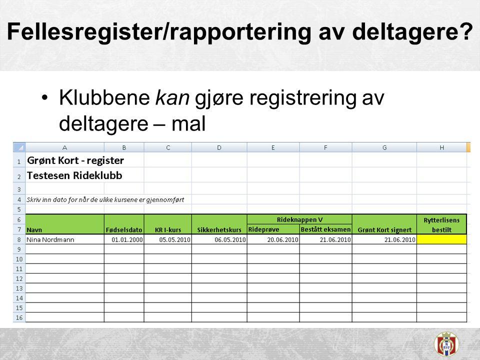 Fellesregister/rapportering av deltagere? •Klubbene kan gjøre registrering av deltagere – mal