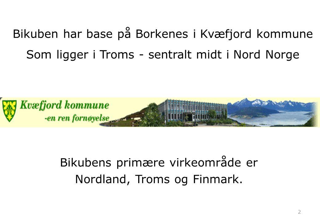 2 Bikubens primære virkeområde er Nordland, Troms og Finmark. Bikuben har base på Borkenes i Kvæfjord kommune Som ligger i Troms - sentralt midt i Nor