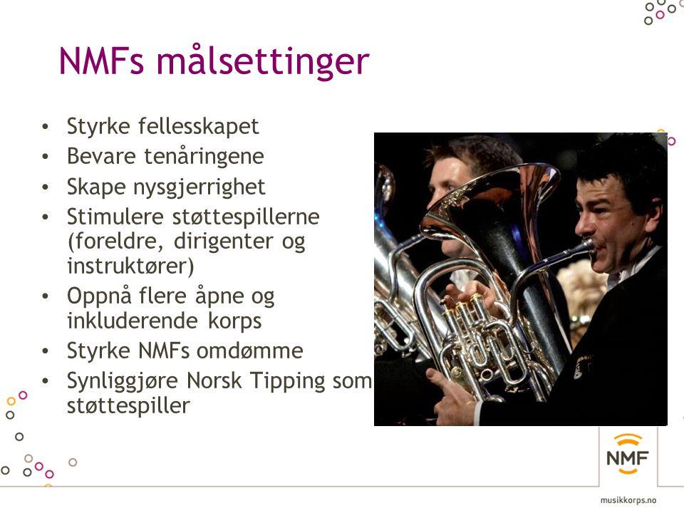 NMFs målsettinger • Styrke fellesskapet • Bevare tenåringene • Skape nysgjerrighet • Stimulere støttespillerne (foreldre, dirigenter og instruktører)