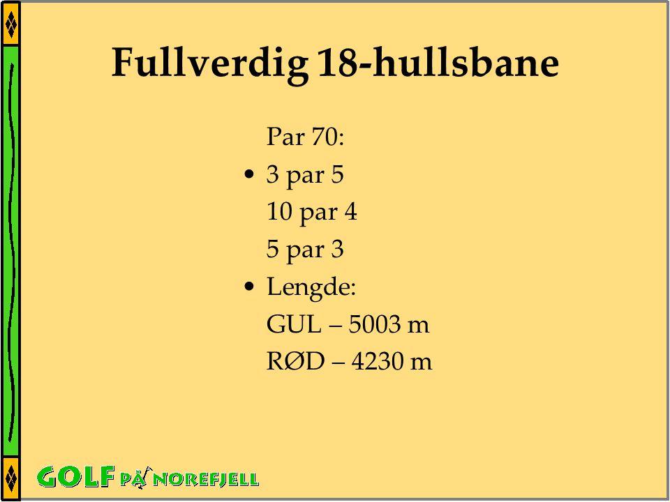 Fullverdig 18-hullsbane Par 70: •3 par 5 10 par 4 5 par 3 •Lengde: GUL – 5003 m RØD – 4230 m