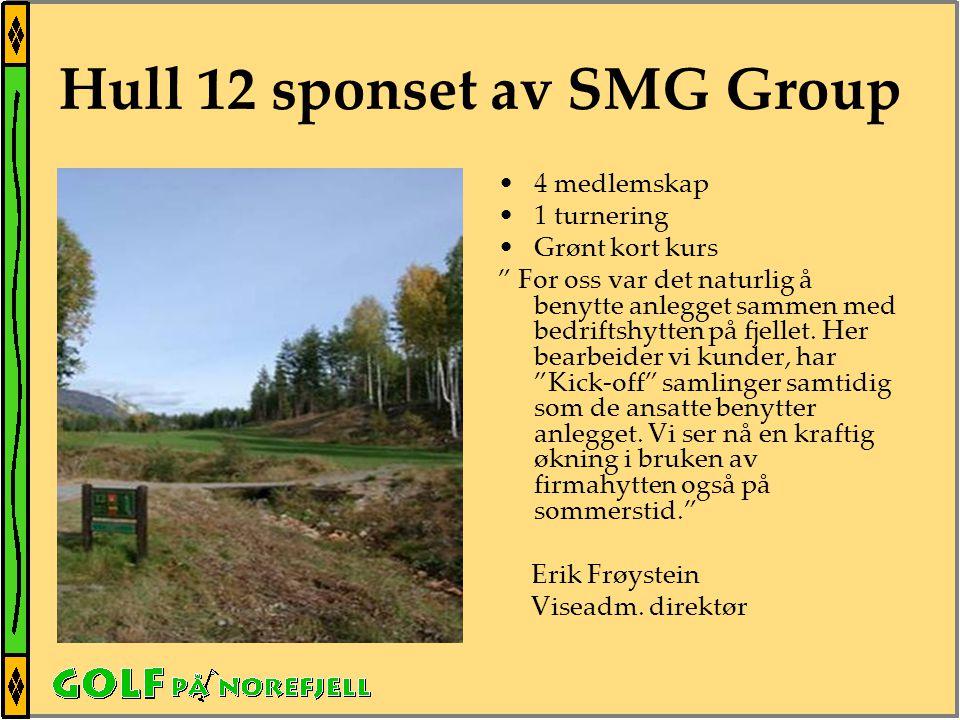 Hull 12 sponset av SMG Group •4 medlemskap •1 turnering •Grønt kort kurs For oss var det naturlig å benytte anlegget sammen med bedriftshytten på fjellet.