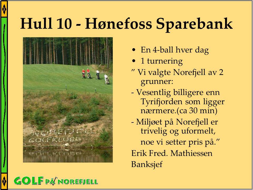 Hull 10 - Hønefoss Sparebank •En 4-ball hver dag •1 turnering Vi valgte Norefjell av 2 grunner: - Vesentlig billigere enn Tyrifjorden som ligger nærmere.(ca 30 min) - Miljøet på Norefjell er trivelig og uformelt, noe vi setter pris på. Erik Fred.