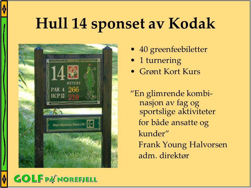 Hull 14 sponset av Kodak •40 greenfeebiletter •1 turnering •Grønt Kort Kurs En glimrende kombi- nasjon av fag og sportslige aktiviteter for både ansatte og kunder Frank Young Halvorsen adm.