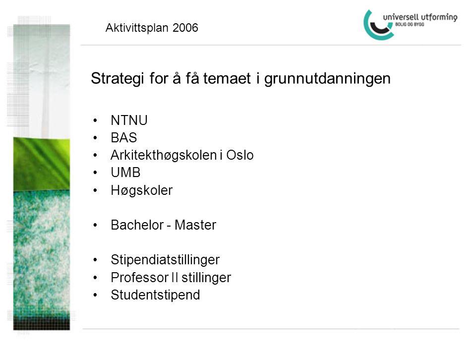 Strategi for å få temaet i grunnutdanningen •NTNU •BAS •Arkitekthøgskolen i Oslo •UMB •Høgskoler •Bachelor - Master •Stipendiatstillinger •Professor II stillinger •Studentstipend Aktivittsplan 2006