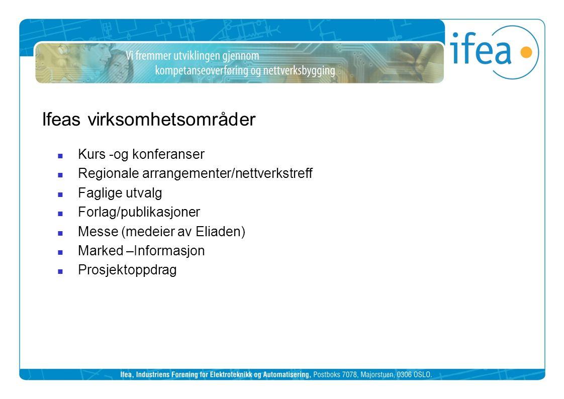Ifeas virksomhetsområder  Kurs -og konferanser  Regionale arrangementer/nettverkstreff  Faglige utvalg  Forlag/publikasjoner  Messe (medeier av E